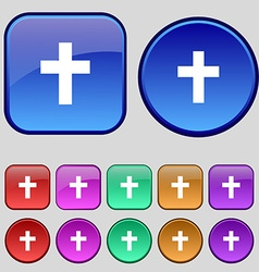Religious cross christian icon sign a set of vector