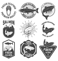Set of the fresh salmon labels emblems and design vector