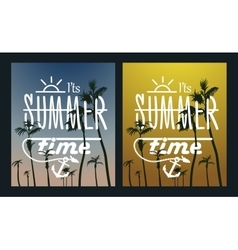 Paradise island-palm tree sunset summer poster vector