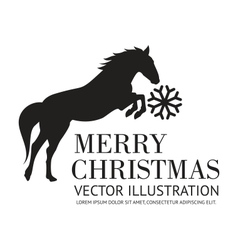 Black horse christmas background vector