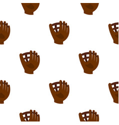Brown leather baseball glove pattern seamless vector