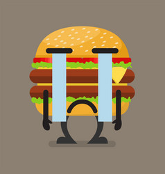 burger character crying vector image