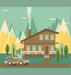 chalet wooden house eco house house on the nature vector image vector image