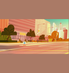 city street skyscraper buildings view modern vector image vector image