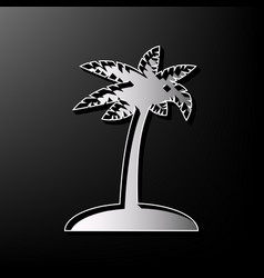 Coconut palm tree sign gray 3d printed vector