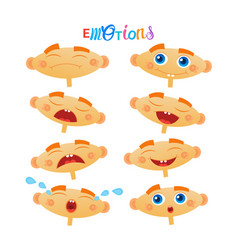 Cute baby boy emotions set toddler face collection vector