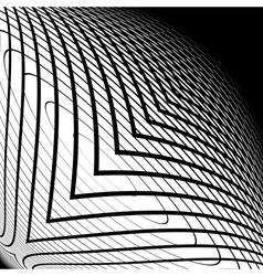 Design monochrome warped grid backdrop vector