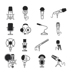 Different microphones types icons vector image vector image