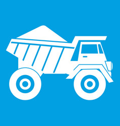 Dump truck with sand icon white vector