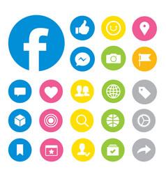 facebook social media button icons vector image vector image