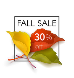 fall sale poster with a bouquet of leaves vector image vector image