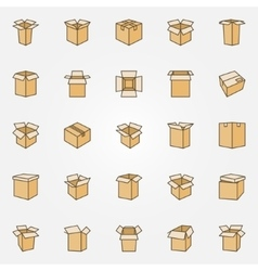 Flat cardboard icons vector image vector image