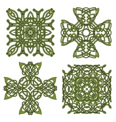 Green isolated celtic and irish crosses vector image vector image