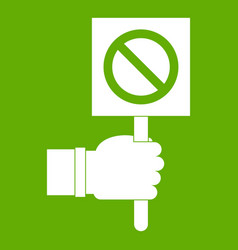 hand showing stop signboard icon green vector image