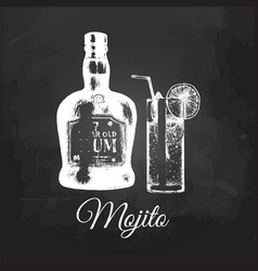 Hand sketched mojito glass and rum bottle vector