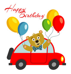 Happy birthday kids postcard template with bear vector
