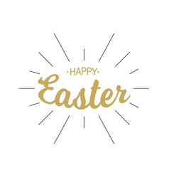 happy easter gold lettering with black rays vector image vector image