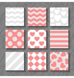 Happy valentines day set of seamless patterns on vector image
