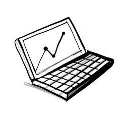 Laptop with diagram and chart vector
