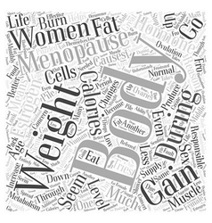 Menopausal weight gain word cloud concept vector