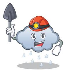 Miner rain cloud character cartoon vector