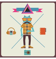Minimalism concept of hipster vector image vector image