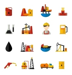 Oil industry icons flat set vector