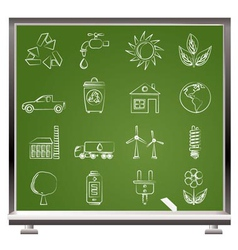 painted with chalk ecology and environment icons vector image