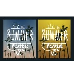 Paradise island-palm tree sunset summer poster vector
