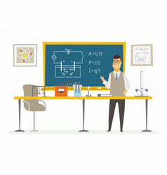 physics classroom - male teacher composition at vector image vector image