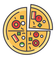 Pizza pizzeria fast food concept line vector