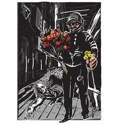 policeman with flowers gentle hero - freehand vector image vector image