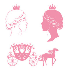 profile silhouette of a princess and carriage vector image