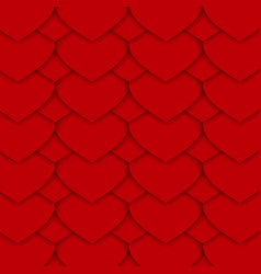 red paper hearts pattern vector image vector image