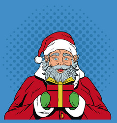 santa claus with gift christmas pop art vector image