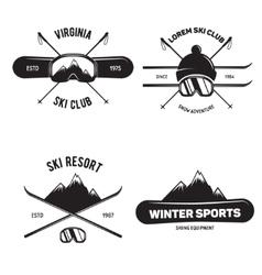 Set of ski club vintage mountain winter badges vector