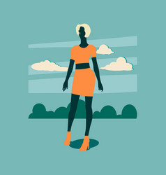 sexy woman silhouette in short skirt vector image