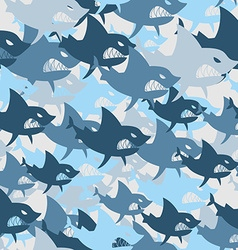 Shark military seamless pattern Army background of vector image