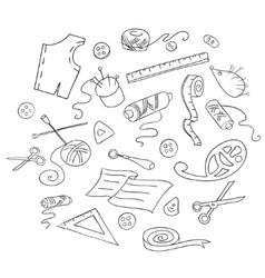 Sketch of sewing tools vector