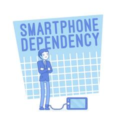 Smartphone dependency lineart concept vector