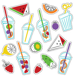 summer ogranic drinks stickers set vector image