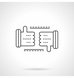 Thumb up and thumb down line flat line icon vector