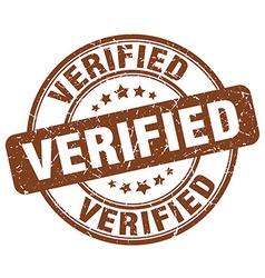 Verified brown grunge round vintage rubber stamp vector