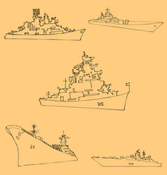 Warships sketch by hand pencil drawing by hand vector