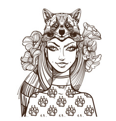 Woman with a raccoon mask beautiful girl in a hat vector