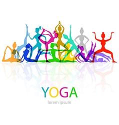 Yoga poses woman silhouette vector