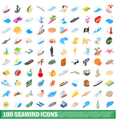 100 seawind icons set isometric 3d style vector