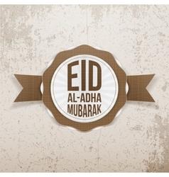 Eid al-adha mubarak greeting emblem vector