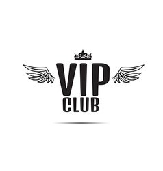 Vip club logo text with wings vector