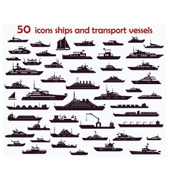 50 icons ships vector